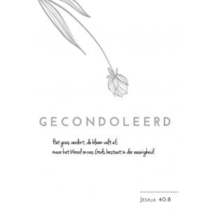 A5 wenskaart / woonkaart GECONDOLEERD, Jesaja 40:8, D3