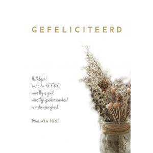 A5 wenskaart / woonkaart GEFELICITEERD, Psalmen 106:1, D4