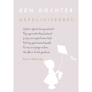 A5 wenskaart / woonkaart Een dochter, GEFELICITEERD, Psalm 139:9 ber., D6